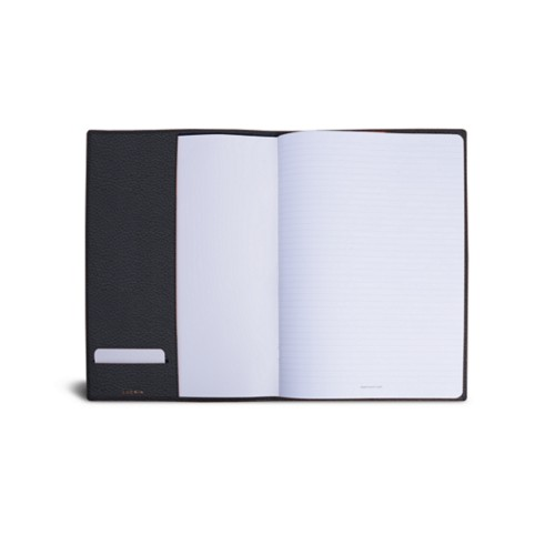 A4 Notebook cover - Navy Blue - Granulated Leather