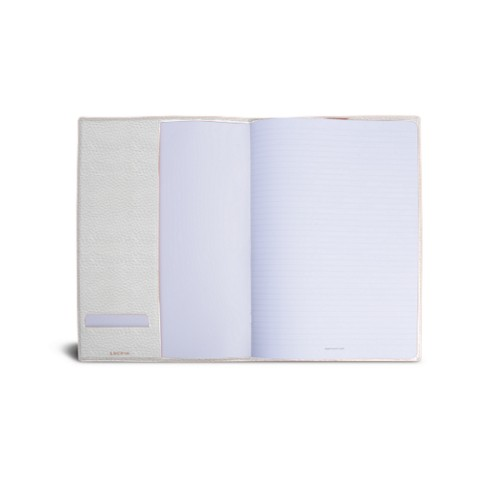 A4 Notebook cover - White - Granulated Leather