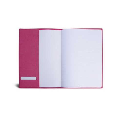 A4 Notebook cover - Fuchsia  - Granulated Leather