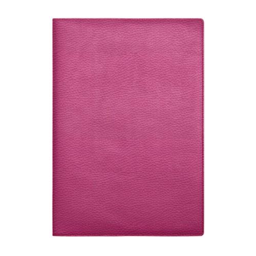 Couverture cahier A4 - Fuchsia  - Cuir Grainé