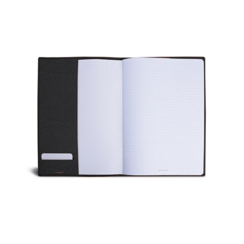 A4 Notebook cover - Black - Granulated Leather
