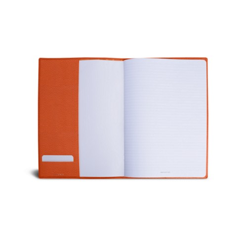 A4 Notebook cover - Orange - Granulated Leather