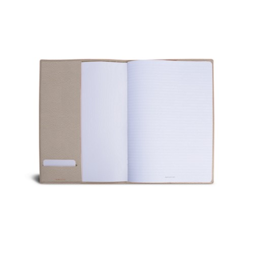 A4 Notebook cover - Light Taupe - Granulated Leather