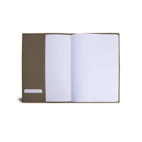 A4 Notebook cover - Dark Taupe - Granulated Leather