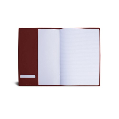 A4 Notebook cover - Burgundy - Smooth Leather