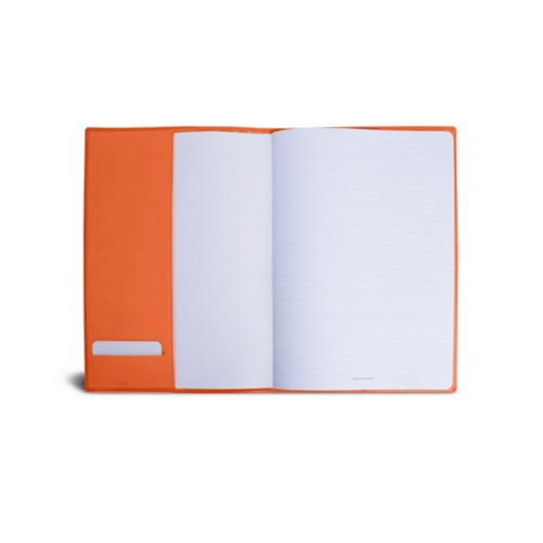 A4 Notebook cover - Orange - Smooth Leather