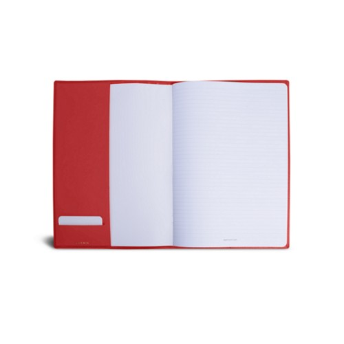 A4 Notebook cover - Red - Smooth Leather