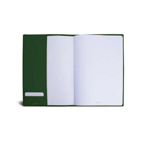 A4 Notebook cover - Dark Green - Smooth Leather