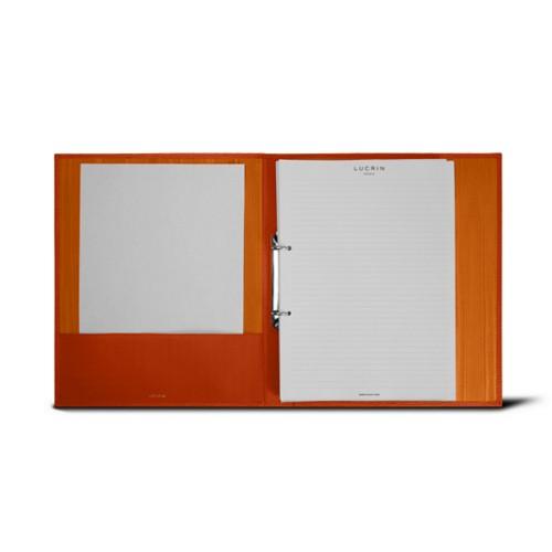 Classeur A4 - 2 anneaux (100 Feuilles) - Orange - Cuir Grainé