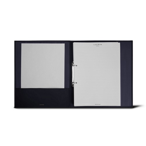 A4 Office binder - 2 rings (100 sheets) - Navy Blue - Smooth Leather