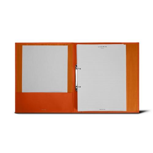 Classeur A4 - 2 anneaux (100 Feuilles) - Orange - Cuir Lisse