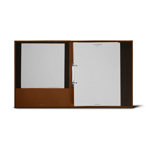 A4 Office binder - 2 rings (100 sheets) - Tan - Bonded Leather