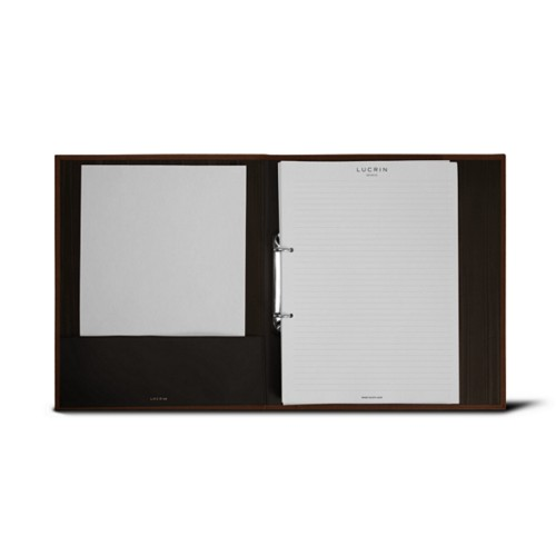 A4 Office binder - 2 rings (100 sheets) - Dark Brown - Bonded Leather