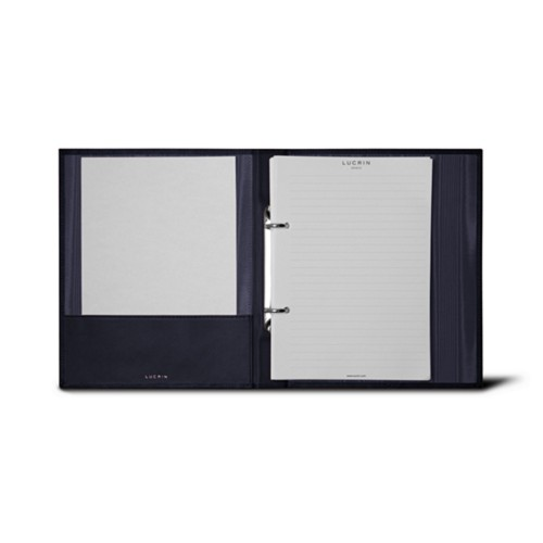 A5 Ring binder - 2 rings (100 sheets) - Navy Blue - Bonded Leather