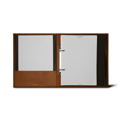 A5 Ring binder - 2 rings (100 sheets) - Tan - Bonded Leather