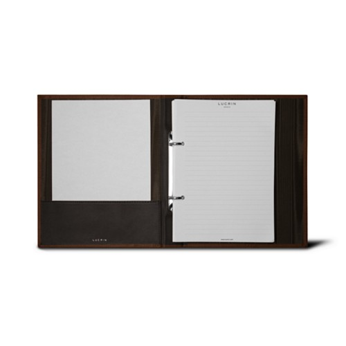 A5 Ring binder - 2 rings (100 sheets) - Dark Brown - Bonded Leather