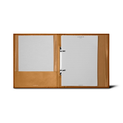 A5 Ring binder - 2 rings (100 sheets) - Natural - Bonded Leather