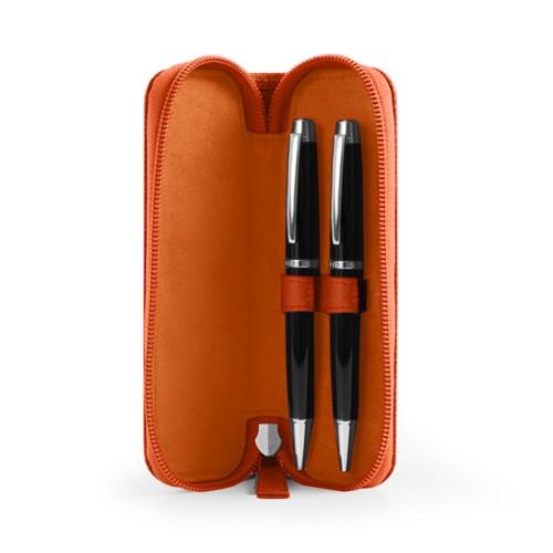 Astuccio portapenna con zip - Arancione - Pelle Ruvida