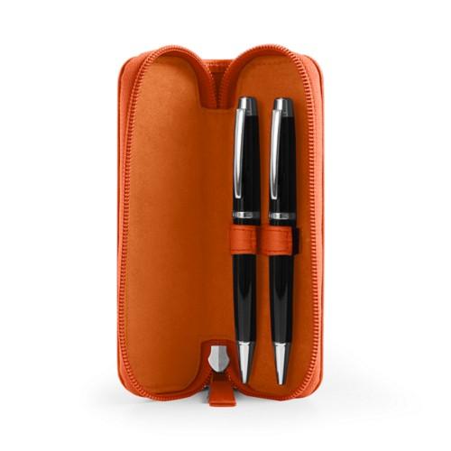 Astuccio portapenna con zip - Arancione - Pelle Liscia