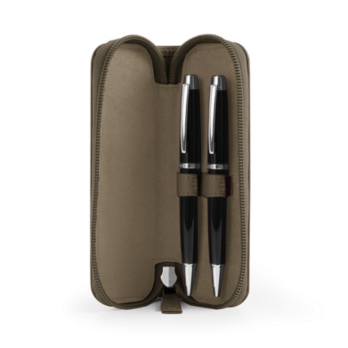 Case 2 zipped pen - Dark Taupe - Smooth Leather