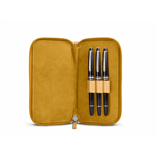Astuccio portapenna con zip - Amarelo Mostarda - Pelle Liscia