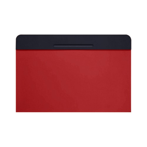 Customisable desk blotter (15.7 x 14 inches) - Navy Blue-Red - Smooth Leather