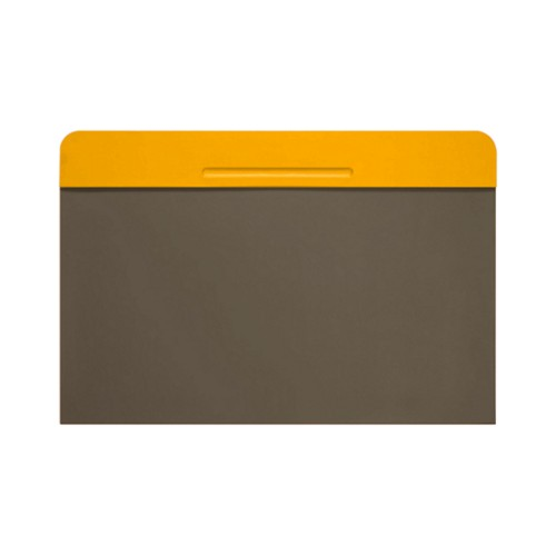 Customisable desk blotter (15.7 x 14 inches) - Sun Yellow-Dark Taupe - Smooth Leather