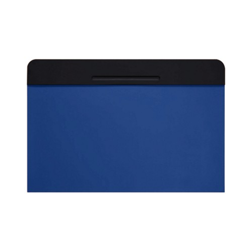 Customisable desk blotter (40 x 35.5 cm) - Black-Royal Blue - Smooth Leather