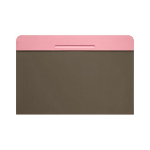 Customisable desk blotter (40 x 35.5 cm) - Pink-Dark Taupe - Smooth Leather