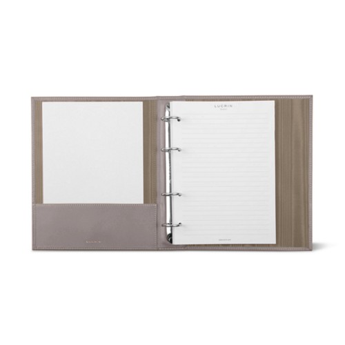A5 Ring binder - 4 rings (100 sheets) - Light Taupe - Smooth Leather