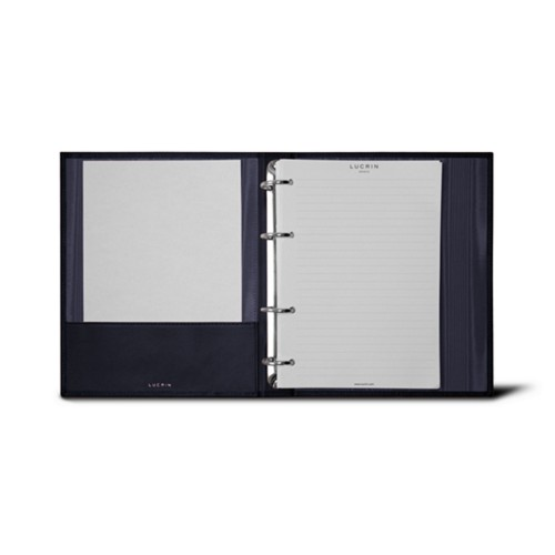 A5 Ring binder - 4 rings (100 sheets) - Navy Blue - Bonded Leather