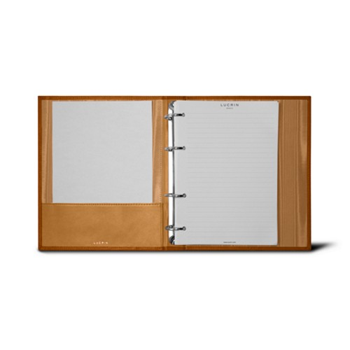 A5 Ring binder - 4 rings (100 sheets) - Natural - Bonded Leather