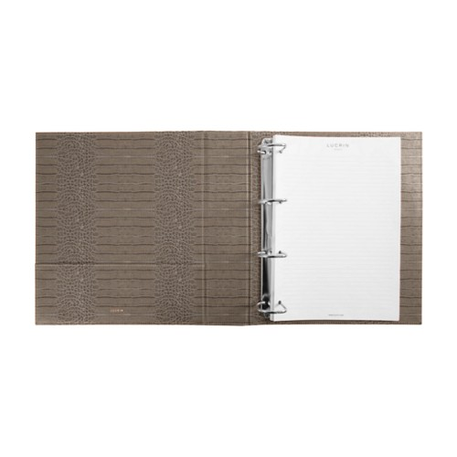 A4 Ring binder - 4 D-shape rings (350 sheets) - Light Taupe - Crocodile style calfskin