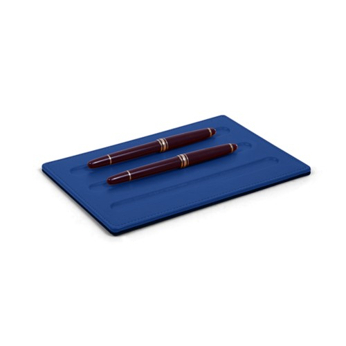 Pen tray-3 pens (20 x 14 cm) - Royal Blue - Smooth Leather
