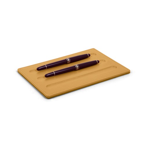 Vaschetta portapenne-3 penne (20 x 14 cm) - Amarelo Mostarda - Pelle Liscia