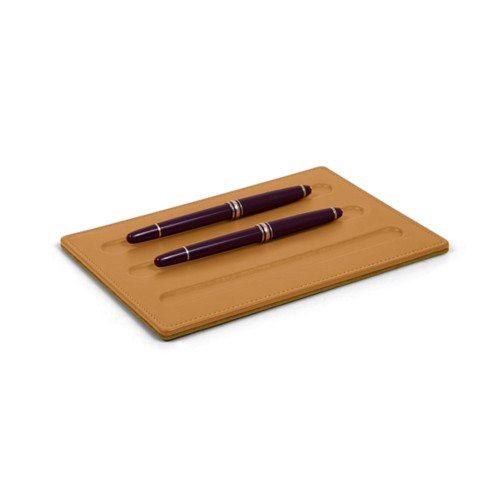 Pen tray-3 pens (7.9 x 5.5 inches) - Natural - Smooth Leather