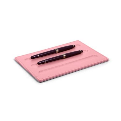 Vaschetta portapenne-3 penne (20 x 14 cm) - Rosa - Pelle Liscia