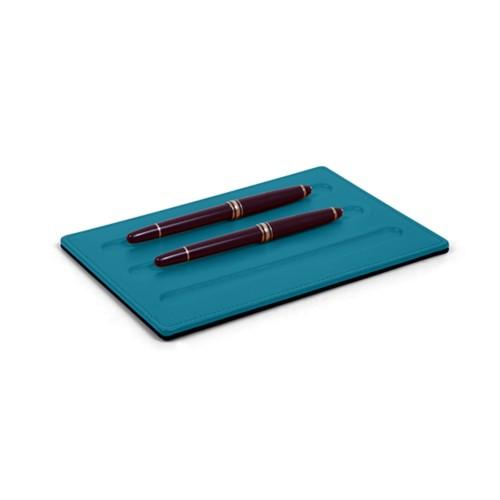 Vaschetta portapenne-3 penne (20 x 14 cm) - Turchese - Pelle Liscia