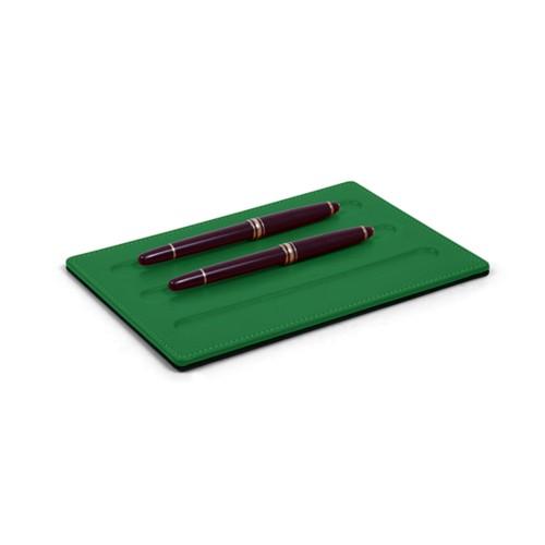 Bandeja para Artículos de escritura-3 plumas (20 x 14 cm) - Verde claro - Piel Liso