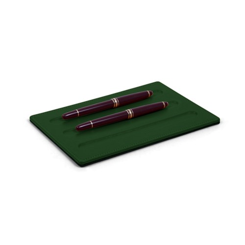 Vaschetta portapenne-3 penne (20 x 14 cm) - Verde scuro - Pelle Liscia