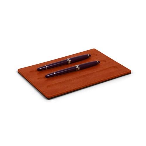 Bandeja para Artículos de escritura-3 plumas (20 x 14 cm) - Coñac  - Piel de curtición vegetal