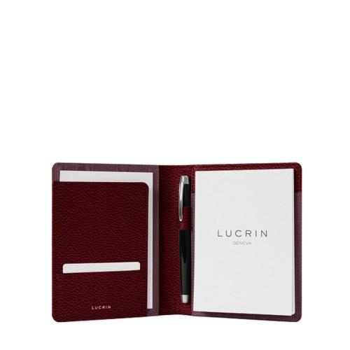 Porte documents A6 - Bordeaux - Cuir Grainé