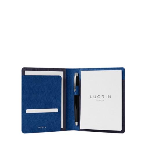 Porte documents A6 - Bleu Roi - Cuir Grainé