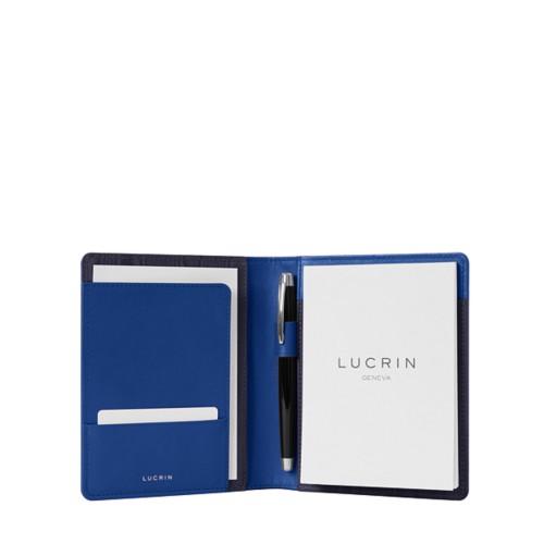 Porte documents A6 - Bleu Roi - Cuir Lisse