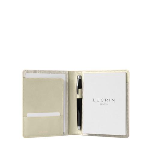Portadocumentos tamaño A6 - Blanco Crudo - Piel Liso