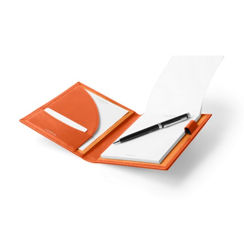 Porte documents A6 - Orange - Cuir Lisse