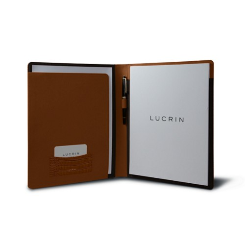 A4/US Letter Business portfolio - Camel - Crocodile style calfskin