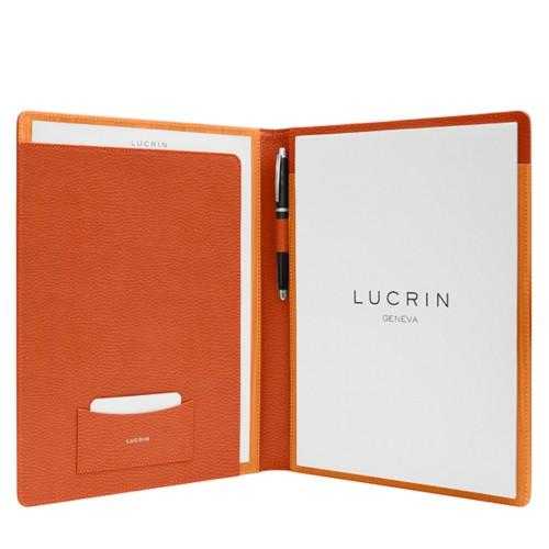 Porte-documents business A4 - Orange - Cuir Grainé