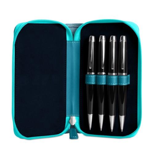 Astuccio porta 4 penna con zip - Turchese - Pelle imitazione coccodrillo