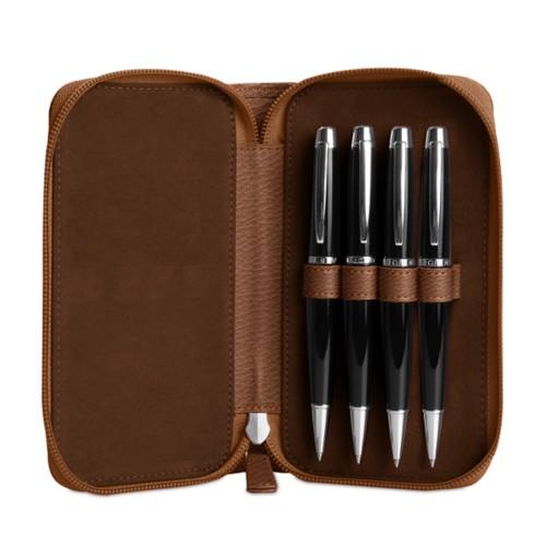 Astuccio porta 4 penna con zip - Cognac - Pelle Ruvida